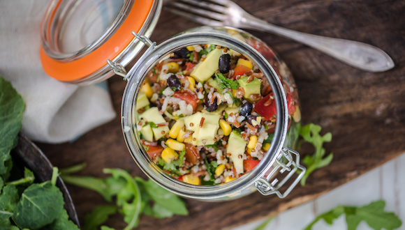 superfood dieting quinoa salad served in rustic trendy jar